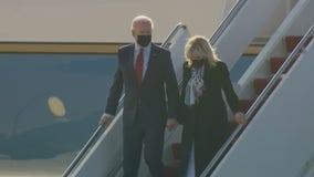 President Joe Biden, First Lady Jill Biden arrive on Air Force One in Wilmington, Del.