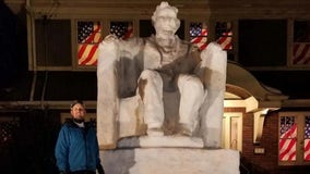 New Jersey man explains how he made 14-foot Lincoln snow sculpture