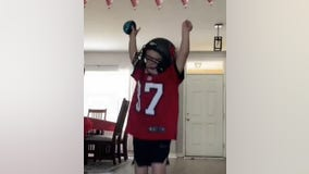 Young Bucs fan gets his first team jersey on Super Bowl Sunday