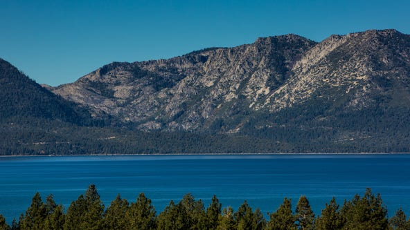 Lake Tahoe water level falling below the basin rim