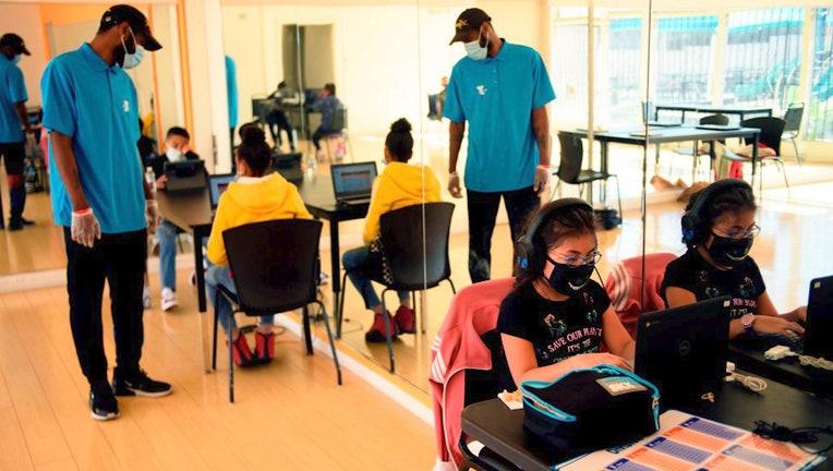 Teachers and students in school coronavirus pandemic