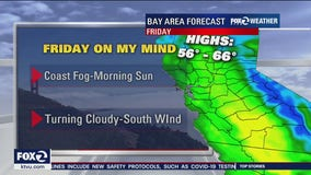 Fog and cloudy, temps in 60s