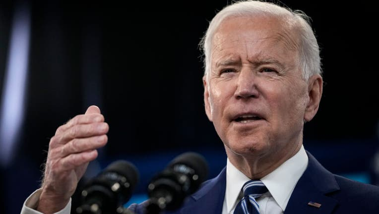 WASHINGTON, DC - MARCH 29: President Joe Biden delivers remarks on the COVID-19 response and the state of vaccinations in the South Court Auditorium at the White House complex on March 29, 2021 in Washington, D.C. (Photo by Drew Angerer/Getty Images)