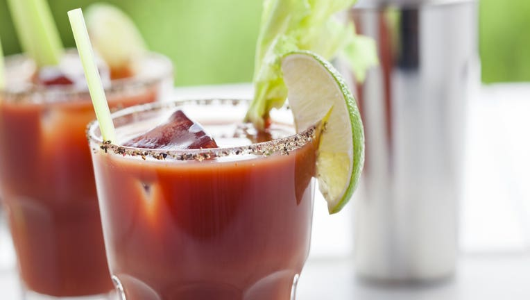 Bloody Mary or Caesar Cocktail with Lime, Celery and ice