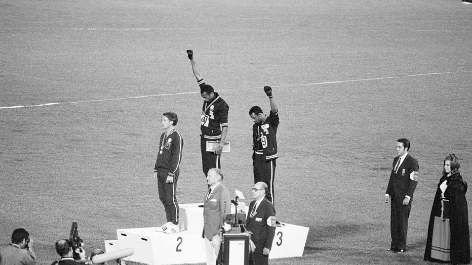 Olympic Medalists Giving Black Power Sign