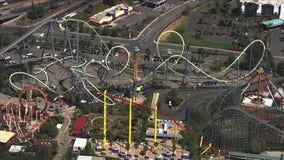 SkyFOX over the newly-reopened Six Flags Discovery Kingdom theme park