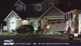 Car slams into San Jose family's house, driver flees the scene