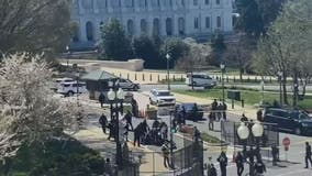 U.S. Capitol Police officer, suspect dead after car rams into barricade