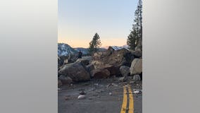 PHOTOS: Rockslide shuts both direction of Highway 50 outside Lake Tahoe