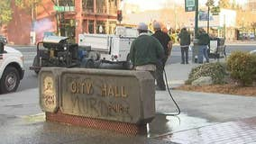 PHOTOS: Vandals tag Walnut Creek downtown with anti-police graffiti