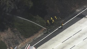 Crews contain grass fire that prompted lane closures on I-580 in Oakland