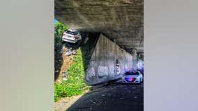 Dramatic crash: Speeding Maserati slams into underside of freeway in Oakland after leading CHP on chase