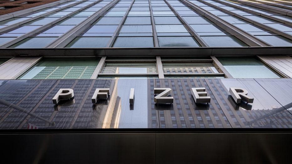 Main entrance to Pfizer Worldwide Headquarters in Manhattan