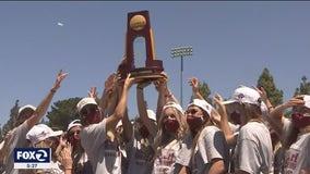 Santa Clara University women's soccer team celebrate their national championship