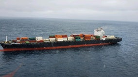 Fire-damaged container ship off Monterey coast being towed to Bay Area