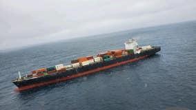 U.S. Coast Guard, tugboats assisting container ship off Monterey coast following engine fire