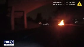 Police body cam captures Mountain View officer running toward burning car to help driver