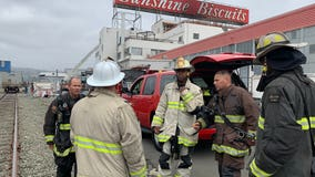 Firefighters extinguish blaze at Sunshine Biscuits building in East Oakland