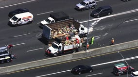 Lettuce clean-up continues after box truck overturns on I-80 in Emeryville