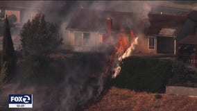 Vallejo vegetation fire damages 8 homes, sends one woman to hospital