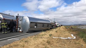 Overturned fuel truck closes Highway 37 in Solano County