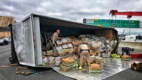 Overturned box truck carrying lettuce blocks lanes on I-80 near the MacArthur Maze