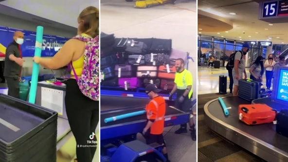 Teen checks pool noodle on Southwest flight, video goes viral