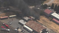 Fire spreads to vegetation in Petaluma