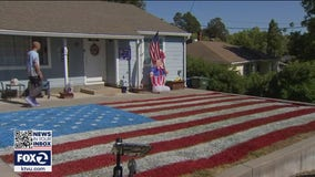 Benicia couple spray paints lawn like American flag in dramatic show of patriotism
