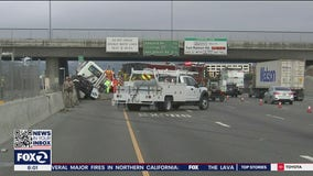 Big rig tractor swerves to avoid driver, slams into BART fence in Pleasanton