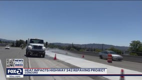 Heatwave prevents concrete from drying correctly on Highway 242