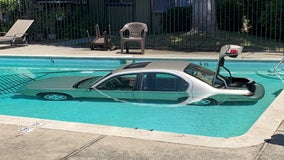 Driver OK after vehicle goes into pool at San Jose complex