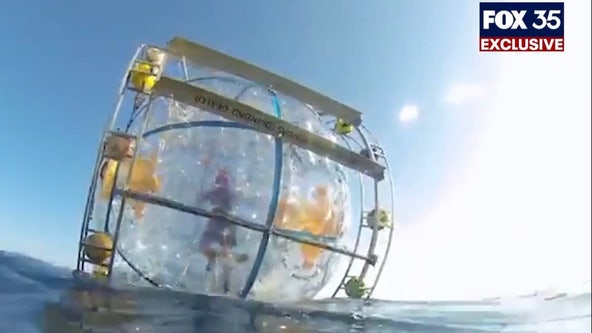 Man running on water inside 'bubble' for charity washes up on Florida beach