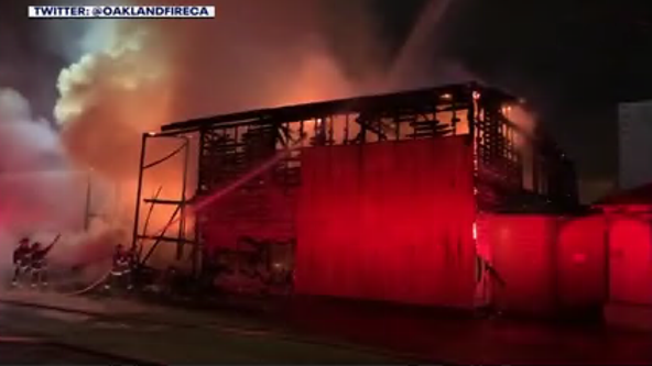3-alarm warehouse fire causes power outages in East Oakland