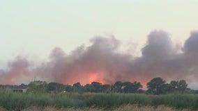 Brush fire breaks out on East Bay island