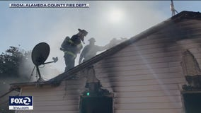 Ammunition goes off as firefighters battle blaze at San Leandro home