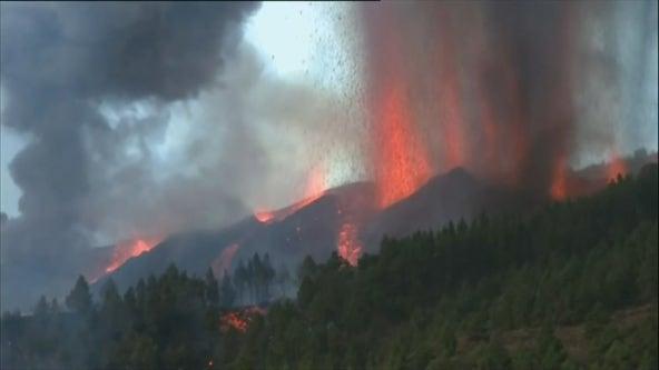 Volcano erupts on island of La Palma; lava threatening some homes