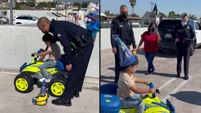 LAPD officers give toy quad to birthday boy who recovered from being hit by car