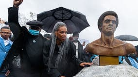 Huey Newton bronze bust installed in Oakland, the first permanent statue honoring the Black Panther co-founder