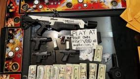 Cash, drugs, guns, flamethrower seized in Oakland illegal 'gambling shack' bust