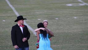 Emotional moment as homecoming queen gives away her crown to student who lost her mother to cancer