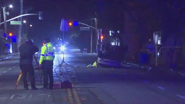 Deadly crash on Burlingame on wet road