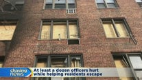 Bronx fire displaces two families and injures officers