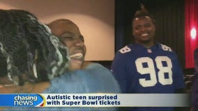 Autistic teen surprised with Super Bowl tickets