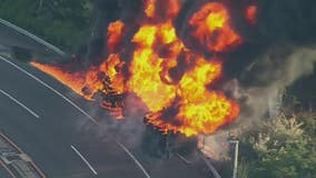 Tanker truck fire in East Rutherford