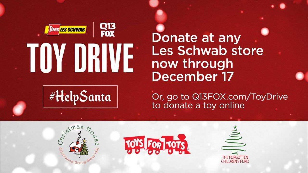 Les Schwab Christmas Eve 2020 HelpSanta: Donate to the Les Schwab Q13 FOX Toy Drive
