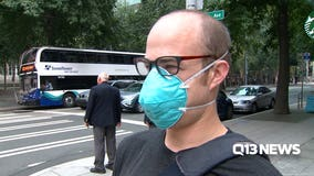Face masks being used by some braving unhealthy smoky conditions
