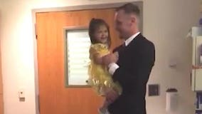 2-year-old battling leukemia gets surprise daddy-daughter dance in hospital room