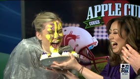 Loser of Apple Cup bet takes a pie to the face, but not without a bit of sweet revenge