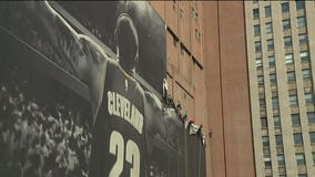 Giant LeBron James banner in Cleveland comes down